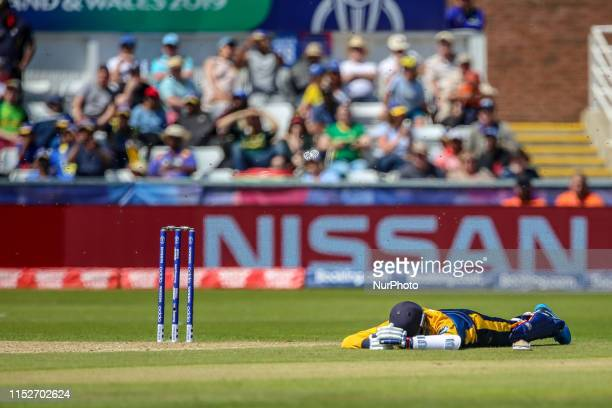 Sri Lanka's Isuru Udana takes shelter on the ground from a swarm of bees during the ICC Cricket World Cup 2019 match between Sri Lanka and South...