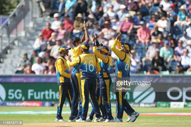 Sri Lanka's Jeffrey Vandersay celebrates with his team mates after catching Chris Gayle off Kasun Rajitha during the ICC Cricket World Cup 2019 match...