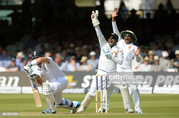 Sri Lanka's Kumar Sangakkara appeals for the wicket of England's Matt Prior during day one of the Investec Test match at Lord's Cricket Ground London