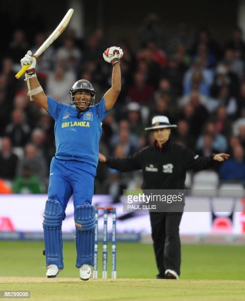 Sri Lanka's Kumar Sangakkara celebrates after beating Australia in the ICC World Twenty 20 cricket match at Trent Bridge Nottingham England on June 8...