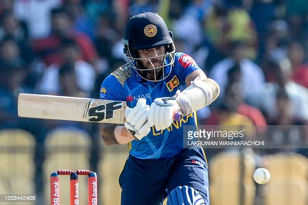 Sri Lanka's Kusal Mendis plays a shot during the second one day international cricket match between Sri Lanka and West Indies at the Sooriyawewa...