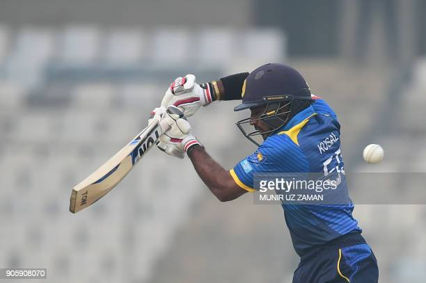 Sri Lanka's Kusal Perera plays a shot during the second One Day International cricket match in the TriNations Series between Sri Lanka and Zimbabwe...