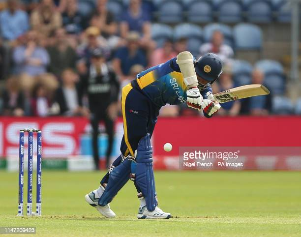 Sri Lanka's Lahiru Thirimanne is trapped LBW by New Zealand's Matt Henry after reviewduring the ICC Cricket World Cup group stage match at Cardiff...