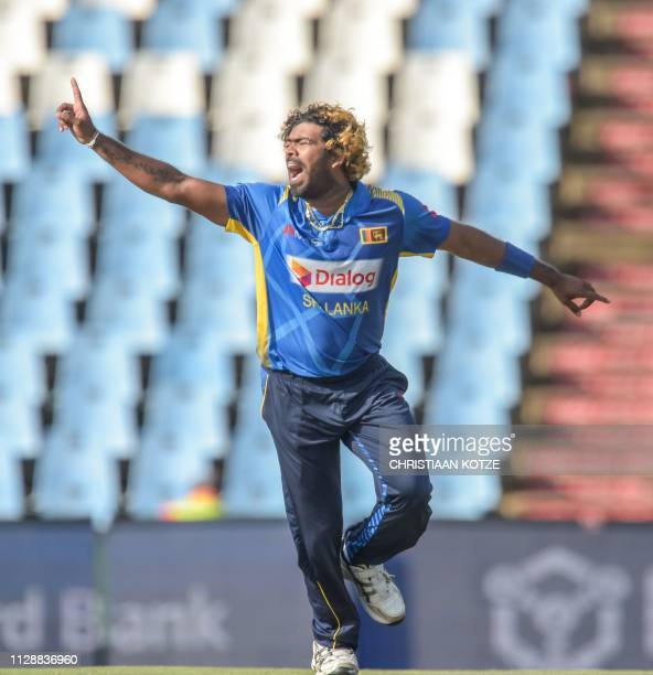 Sri Lanka's Lasith Malinga asks for a LBW decission during the second oneday international ODI cricket match South Africa versus Sri Lanka at the...
