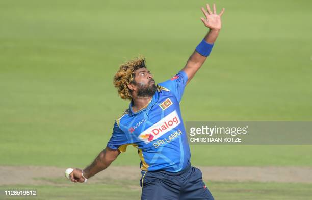 Sri Lanka's Lasith Malinga bowls during the 1st ODI Cricket match South Africa v Sri Lanka at the Wanderers Stadium Johannesburg on March 3 2019