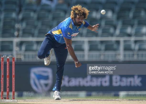 Sri Lanka's Lasith Malinga bowls during the first one day international cricket match between South Africa and Sri Lanka at the Wanderers Stadium...