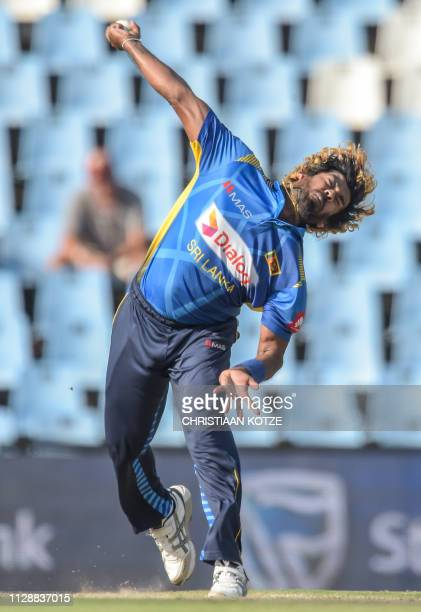 Sri Lanka's Lasith Malinga bowls during the second oneday international ODI cricket match South Africa versus Sri Lanka at the Centurion's SuperSport...