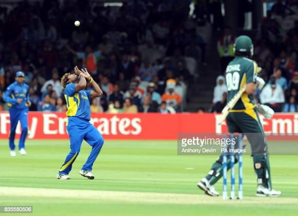 Sri Lanka's Lasith Malinga catches Pakistan's Sohail Tanveer during the ICC World Twenty20 Super Eights match at Lord's London