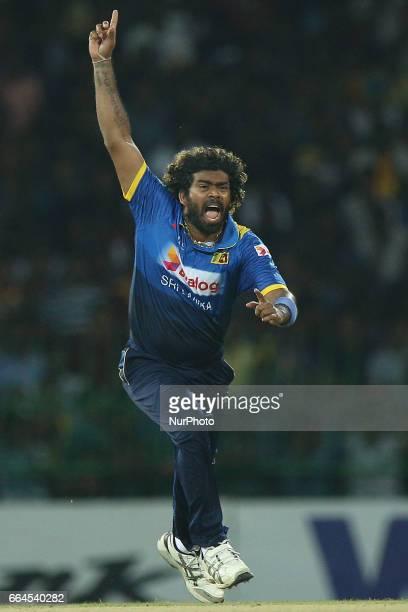 Sri Lanka's Lasith Malinga celebrates during the first Twenty20 cricket match between Bangladesh and Sri Lanka in Colombo Sri Lanka Tuesday April 4...