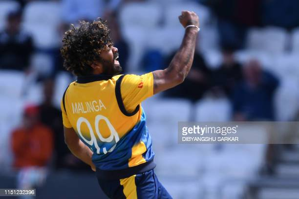 Sri Lanka's Lasith Malinga celebrates taking the wicket of England's Jonny Bairstow for LBW during the 2019 Cricket World Cup group stage match...