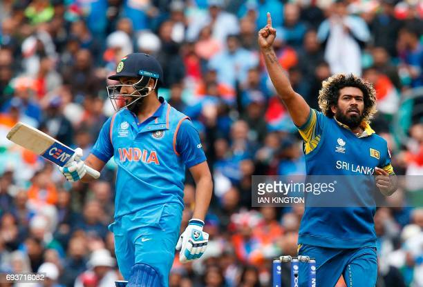 Sri Lanka's Lasith Malinga celebrates taking the wicket of India's Rohit Sharma for 78 runs during the ICC Champions Trophy match between India and...