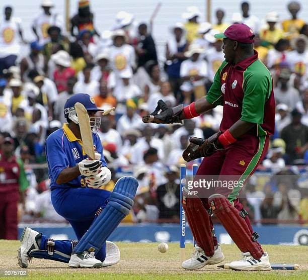 Sri Lanka's Mahela Jayawardene gets a life when West Indies bowler Christ Gayle bowled a No-Ball that took the bails off, for Jayawardene to remain...