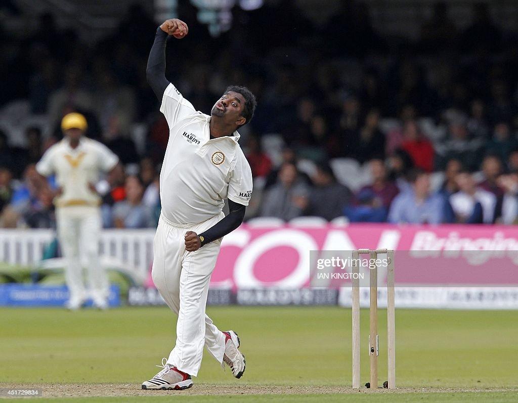 Sri Lankas Muttiah Muralitharan bowling for the Rest of the World ...