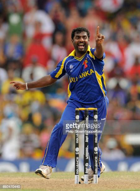 Sri Lanka's Muttiah Muralitharan successfully appeals for the wicket of England's Ravi Bopara during their ICC Cricket World Cup 2011 quarter-final...