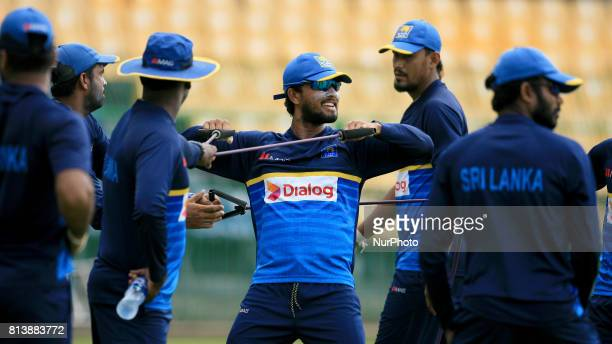 Sri Lanka's new test cricket captain Dinesh Chandimal during a warm up session ahead of the Test match against the visiting Zimbabwe cricket team at...