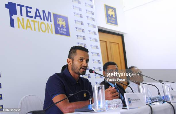 Sri Lanka's newly appointed captain for the ICC cricket World Cup Dimuth Krunaratne speaks at a press conference in Colombo Sri Lanka Sri Lanka on...