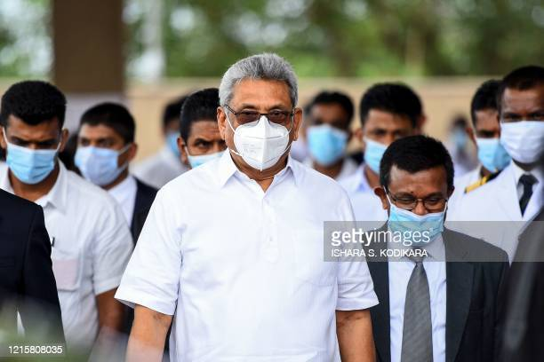 Sri Lanka's President Gotabhaya Rajapaksa arrives to attend a laying in state ceremony for late tea plantation trade union leader and government...