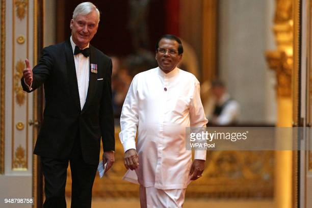 Sri Lanka's President Maithripala Sirisena arrives to attend The Queen's Dinner during The Commonwealth Heads of Government Meeting at Buckingham...