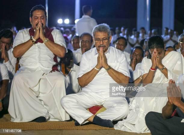 Sri Lanka's presidential candidate of Sri Lanka Podujana Peramuna and former defence secretary Gotabaya Rajapaksa his wife Ioma Rajapaksa and his...