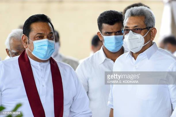 Sri Lanka's Prime Minister Mahinda Rajapaksa and President Gotabhaya Rajapaksa attend a laying in state ceremony for late tea plantation trade union...