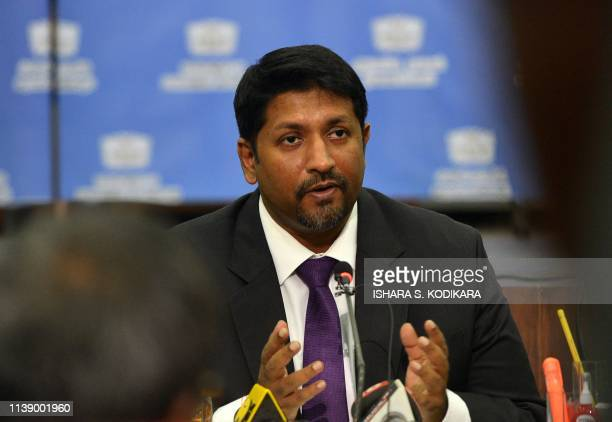 Sri Lanka's state minister of defence Ruwan Wijewardene takes part in a press conference in Colombo on April 24 2019 A Sri Lankan security dragnet...