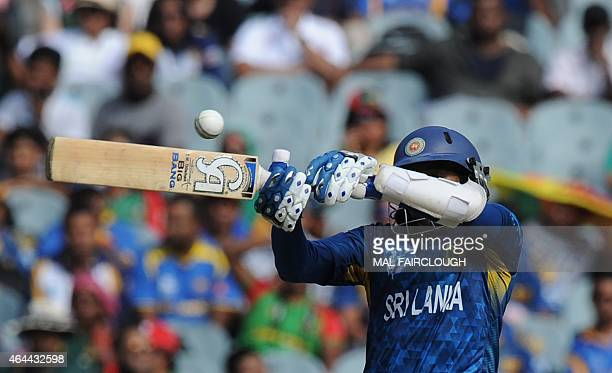 Sri Lanka's Tillakaratne Dilshan plays a shot during the Pool A 2015 Cricket World Cup match between Sri Lanka and Bangladesh at the Melbourne...