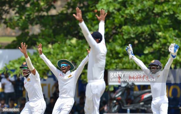 Sri Lanka's unsuccessfully appeal for a decision during the third day of the opening Test match between Sri Lanka and South Africa at the Galle...