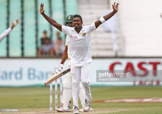 Sri Lanka's Vishwa Fernando appeals against South Africa's Vernon Philander during the third day of the first Cricket Test between South Africa and...