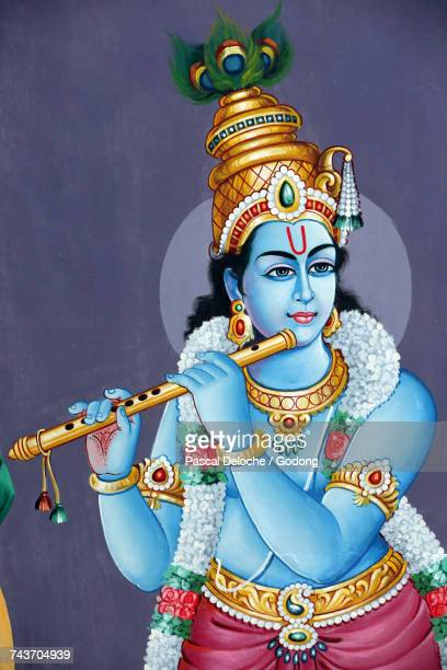 sri mariamman hindu temple.  hindu god : lord krishna.  singapore. - krishna stock photos and pictures