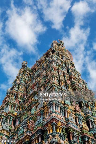 Sri Meenakshi Temple against blue sky, Madurai, Tamil Nadu, India