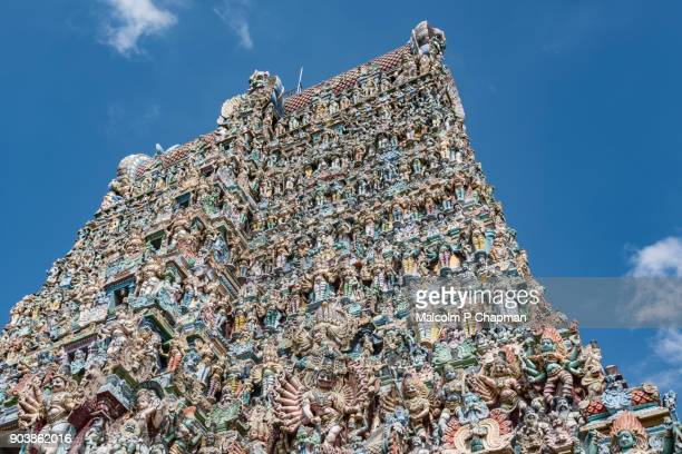 Sri Meenakshi Temple, Madurai - stone figures of gods and animals on a Dravidian Gopuram, Madurai, Tamil Nadu, India