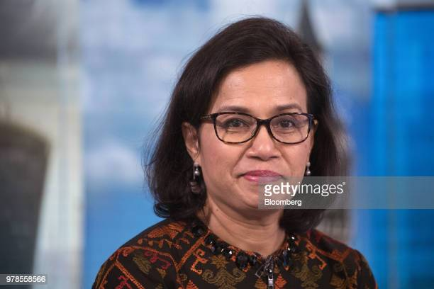 Sri Mulyani Indrawati Indonesia's finance minister gestures as she speaks during a Bloomberg Television interview in London UK on Tuesday June 19...