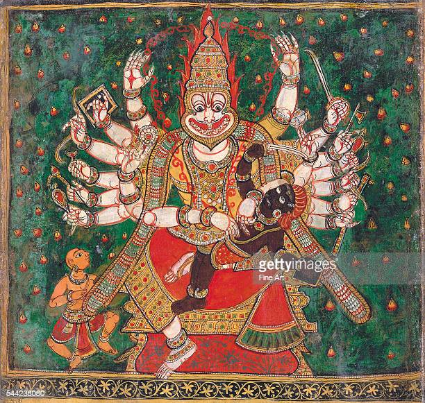 Sri Narasimha is the halfhuman halflion incarnation of Vishnu Hindu circa 18th century Colors on paper British Library London England