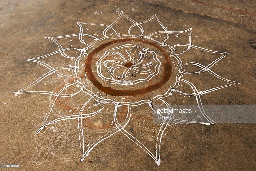 Sri Ranganathaswamy Temple, kolam decoration : Stock Photo