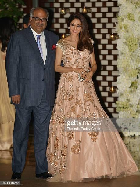 Sridevi and Boney Kapoor at Ambani's party to celebrate Harbhajan Singh & Rohit Sharma's wedding in Mumbai.