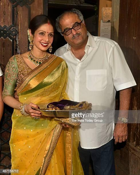 Sridevi and Boney Kapoor at Anil Kapoors Karwa Chauth party in Mumbai.