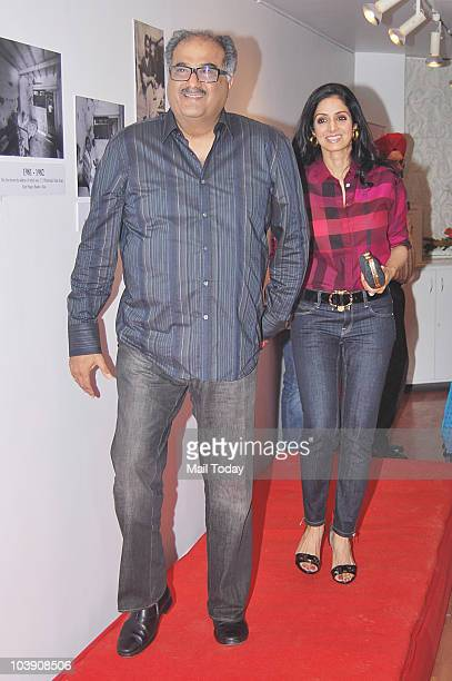 Sridevi and Boney Kapoor during the inauguration of artist Geeta Dass's exhibition of paintings based on Bollywood film actor Anupam Kher�s...