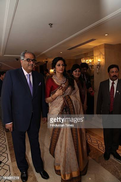 Sridevi and her husband Boney Kapoor during Annaprashan ceremony of Subrata Roy's granddaughter Roshna on March 20 2013 in New Delhi India
