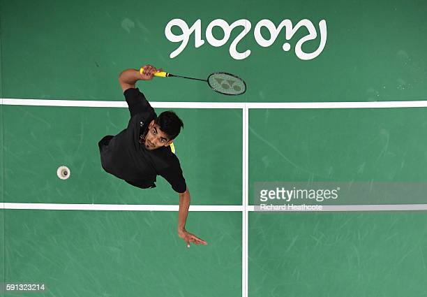 Srikanth Kidambi of India competes against Dan Lin of China during the Men's Singles Quarterfinal Badminton match Day 12 of the Rio 2016 Olympic...
