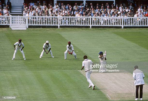 LONDON JUNE 25 Srikkanth drives Andy Roberts for 4 Cricket World Cup 1983 West Indies v India at Lord's E835510