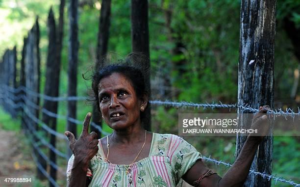 SriLankaconflictmilitarylandFEATURE In this photograph taken on June 9 Tamil refugee Balasundaram Rasamalar 53 speaks to an AFP reporter on the...