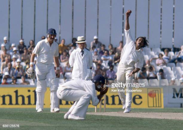 Srinivas Venkataraghavan bowling for India during the 4th Test match between England and India at The Oval London 1st September 1979 The nonstriking...