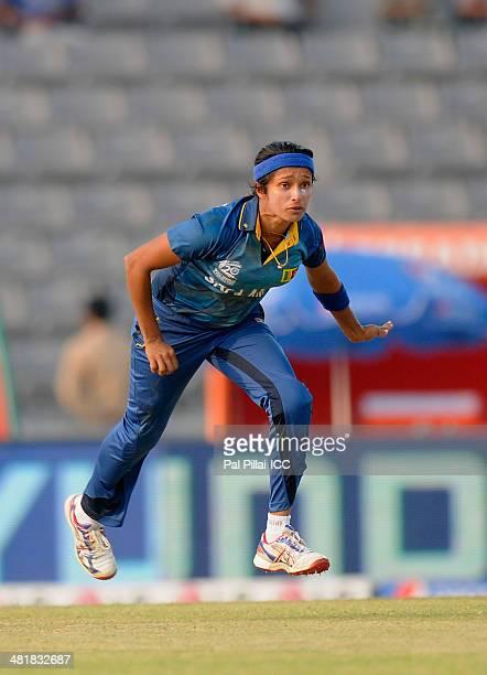Sripali Weerakkody of Sri Lanka bowls during the ICC Women's World Twenty20 match between Bangladesh Women and Sri Lanka Women played at Sylhet...