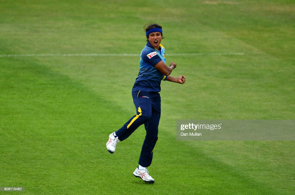Sripali Weerakkody of Sri Lanka celebrates taking the wicket of Poonam Raut of India during the ICC Women's World Cup 2017 match between Sri Lanka and India at The 3aaa County Ground on July 5, 2017 in Derby, England.