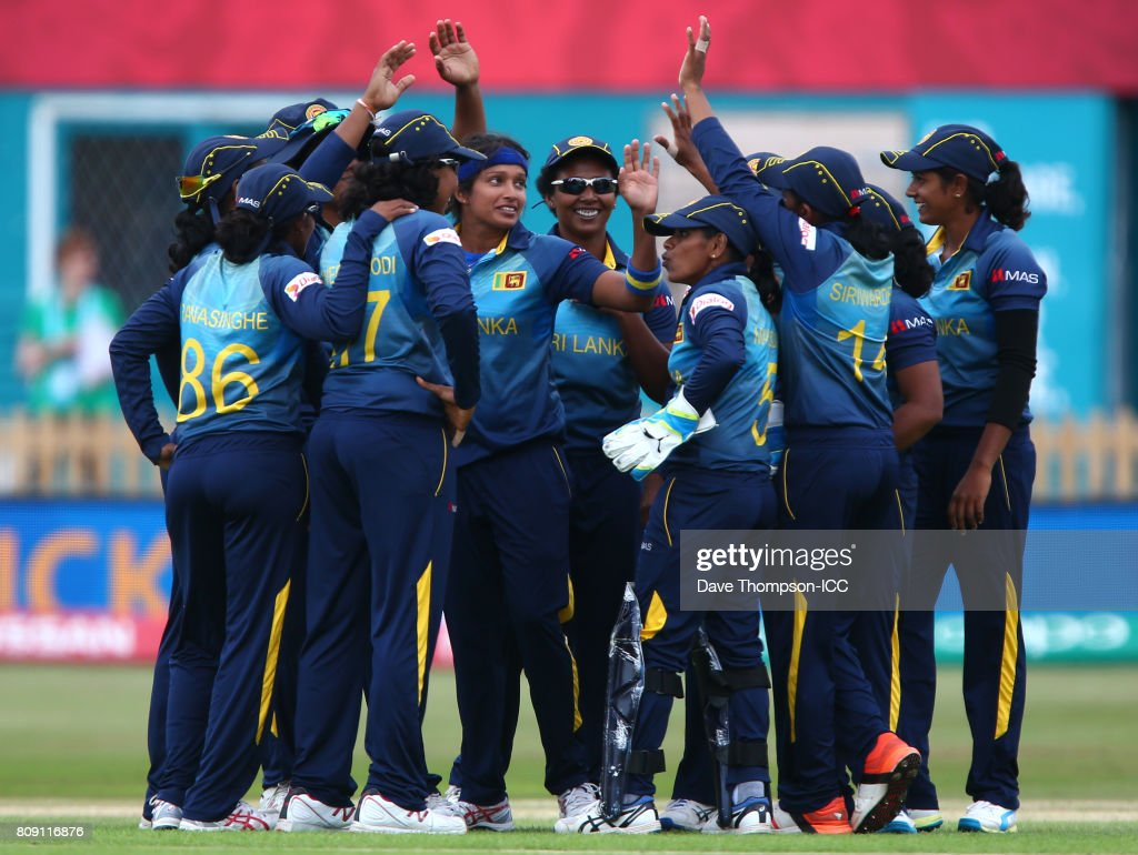 Sripali Weerakkody of Sri Lanka (C) celebrates with team mates after taking the wicket of Punham Raut of India during the ICC Women's World Cup match between Sri Lanka and India at The 3aaa County Ground on July 5, 2017 in Derby, England.