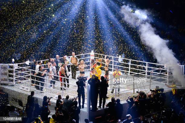 Srisaket Sor Rungvisai celebrates his victory over Iran Diaz during their super flyweight title bout at the Impact Arena in Bangkok Thailand 6...