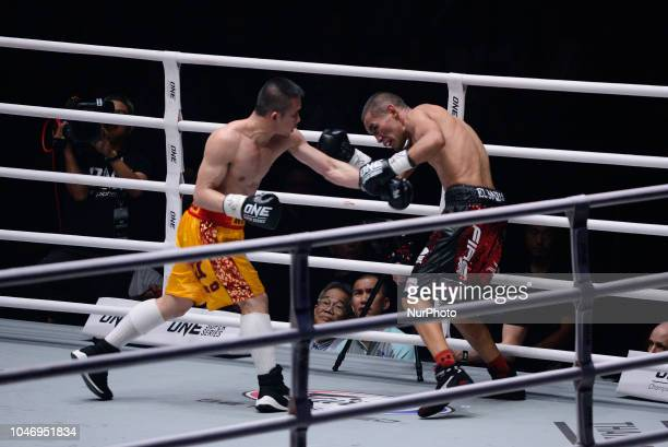 Srisaket Sor Rungvisai in action against Iran Diaz during their super flyweight title bout at the Impact Arena in Bangkok Thailand 6 October 2018