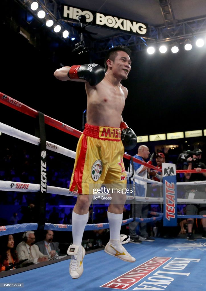 Srisaket Sor Rungvisai of Thailand celebrates his victory over Roman Gonzalez of Nicaragua at StubHub Center on September 9, 2017 in Carson, California.
