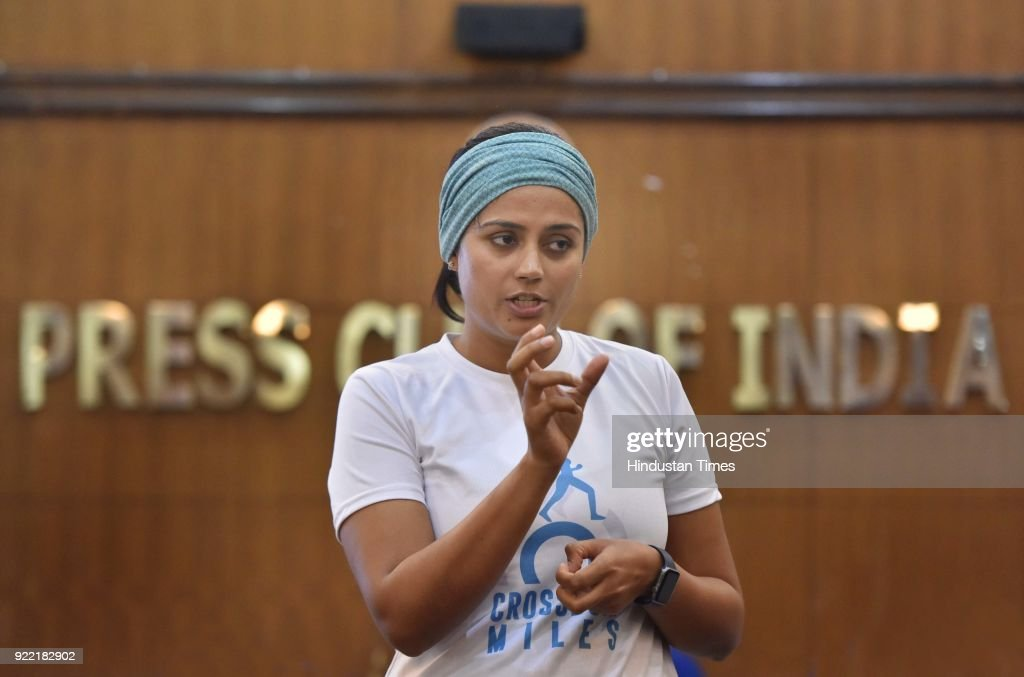 Srishti Bakshi, founder of CrossBow Miles at Press Club of India, on February 21, 2018 in New Delhi, India. She has embarked on a 3,800-kilometre journey from Kanyakumari to Srinagar in 260 days on foot to sensitise citizens about violence against women. Her network of change-makers, named CrossBow, aims to harness the power of the internet to help women empower themselves.