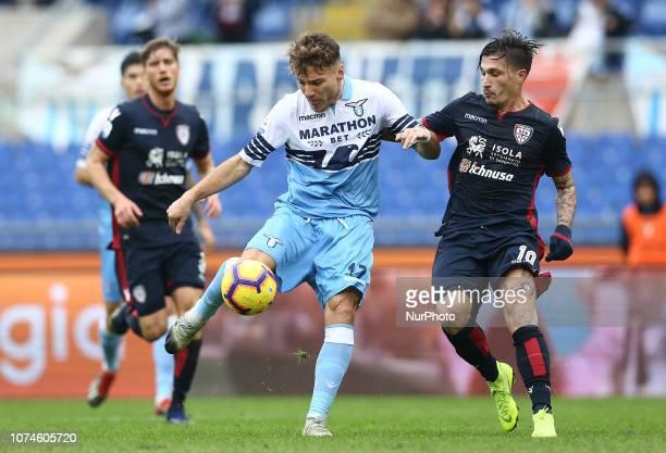 Ss Lazio v Cagliari Serie A Ciro Immobile of Lazio and Fabio Pisacane of Cagliari at Olimpico Stadium in Rome Italy on December 22 2018